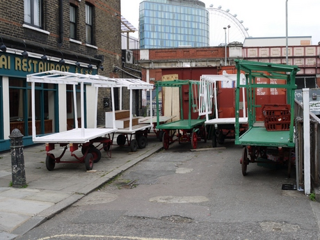 Parked market barrows, Lower Marsh Street