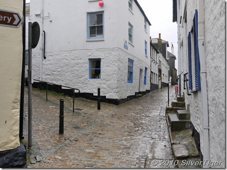 Cobbled streets in rainy St Ives