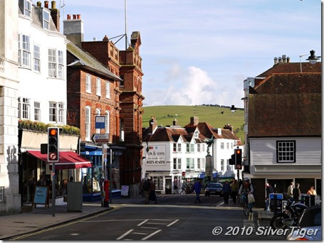 Looking down Lewes High Street to the countryside beyond
