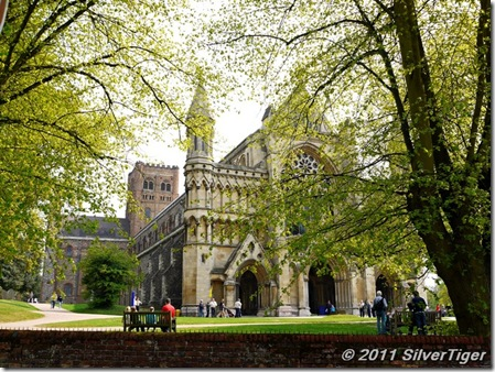 St Albans Cathedral, dressed in green