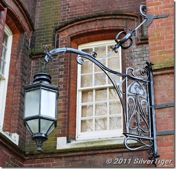Handsome lamp and bracket with a rather Art Nouveau flower motif