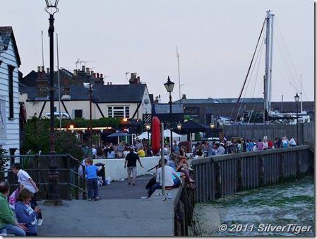 Waterside pubs are crowded in fine weather
