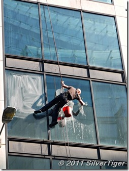 Cleaning windows in Fenchurch Street
